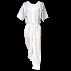 Vintage Catalina White Jumpsuit Mechanic Coveralls